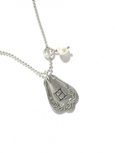 A beautiful spoon charm necklace hand stamped with initial of your loved one. Perfect gift for daughter. sister, wife