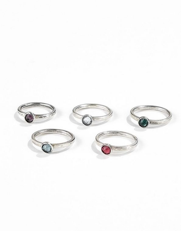 Stackable Birthstone Rings made with sterling silver