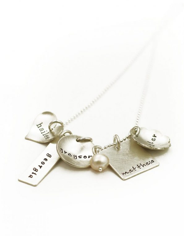 Design your own necklace by choosing your metals and charm shapes. Perfect gift for family, mom, grandma