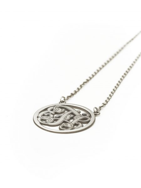 Sterling silver legacy monogram necklace with initials. Best gift for mom, grandma, or besties