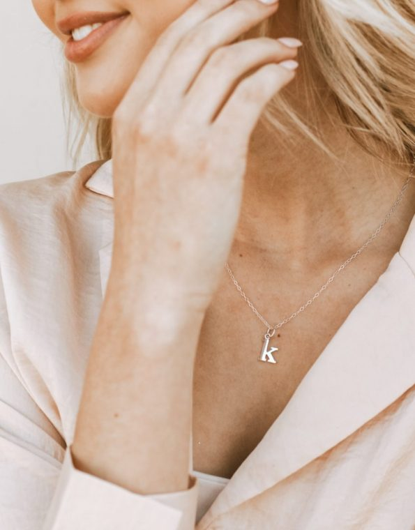Sterling Lowercase Typewriter Initial Necklace