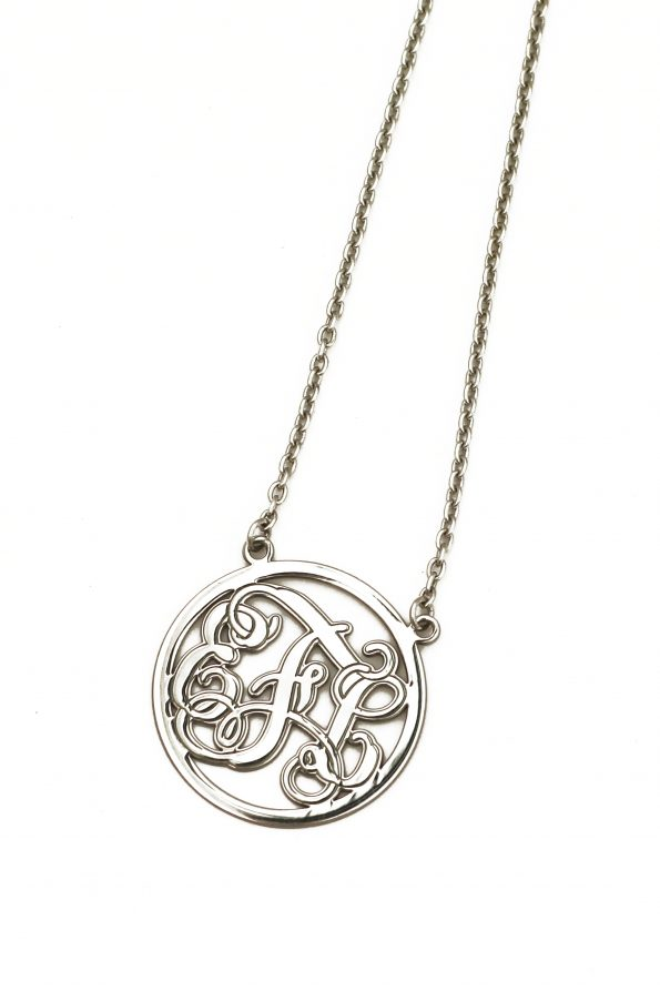 A beautiful sterling silver monogram with 3 initials. Hung on an 18″ sterling chain. Great gift for spouse, mom, grandma