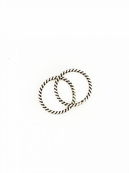 A set of 2 beautiful handmade sterling silver rope rings, the perfect accent to many of our personalized rings!