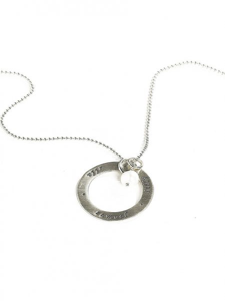 Sterling silver circle with names or dates hand stamped. Perfect gift for wife and mom