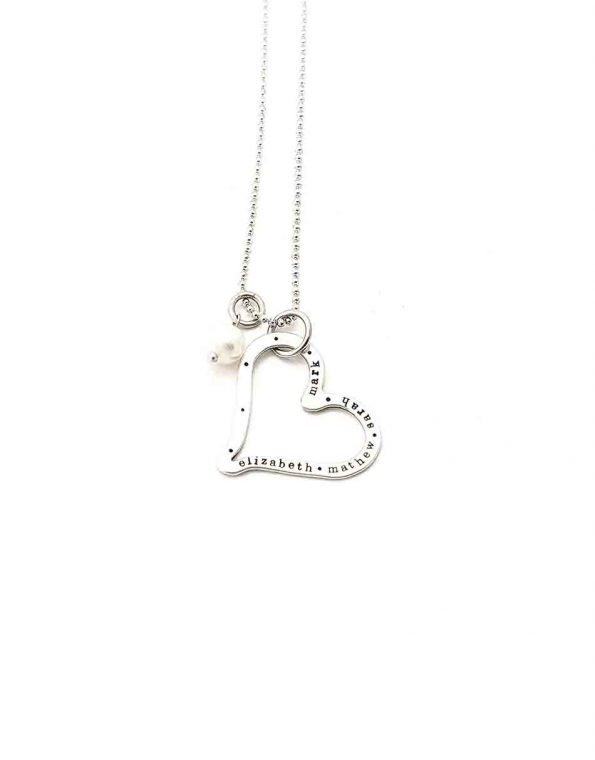 Sterling Silver Eternity Heart Necklace