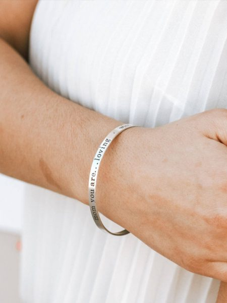 Personalized Hand Stamped Name or Message Bangle For Wife, Fiancee, Mom