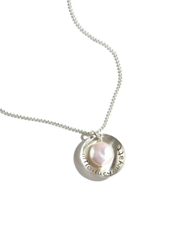 Sterling silver disc hand stamped with names. Perfect personalized necklace for mom, grandma