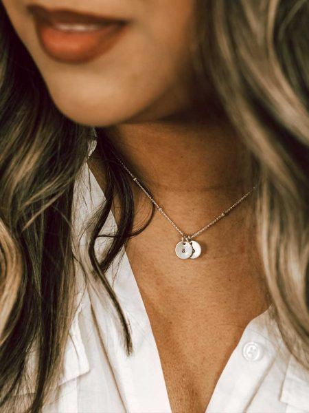 Sterling Silver Satellite Charm Initial Necklace