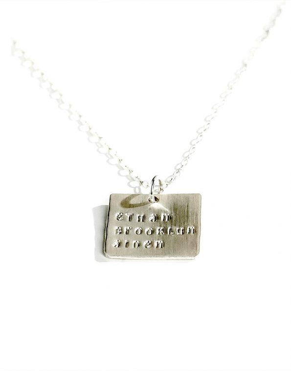 Sterling Silver Square Names On a Chain Necklace