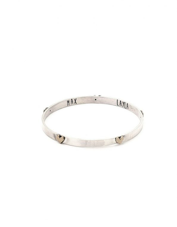 5 hearts on a beautiful bangle with the names of your loved ones hand stamped on the inside.