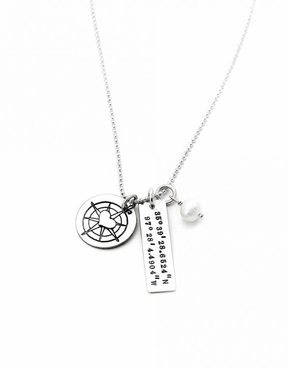 Perfect personalized gift for an adventurous woman. Add the coordinates of her most favorite place on the rectangle charm.