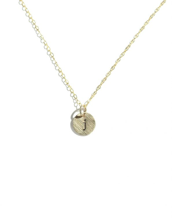 Hand-stamped initial on a tiny disc, in sterling silver or gold. Best personalized necklace for wife, mom, sister, friend