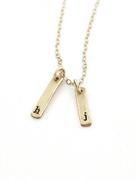 Sterling silver or gold-filled rectangle necklace with initial hand stamped. Personalized necklace for a mom