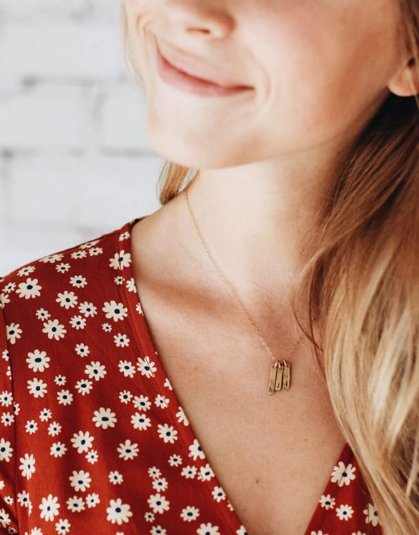 Tiny Initial Rectangle Necklace