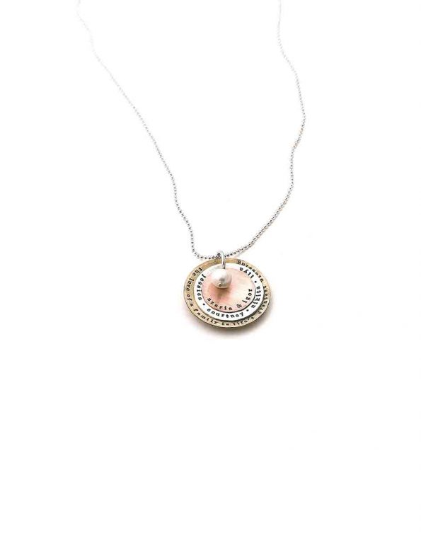 Perfect name jewelry for mom. 3 layers of brass, sterling silver and copper personalized with names or dates.