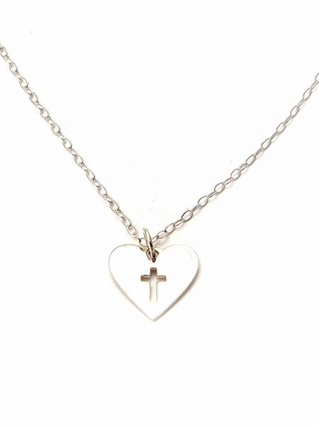 Sterling silver heart with a cross cut out in the middle and hung on a beautiful sterling silver dainty chain. Perfect for girls of any age