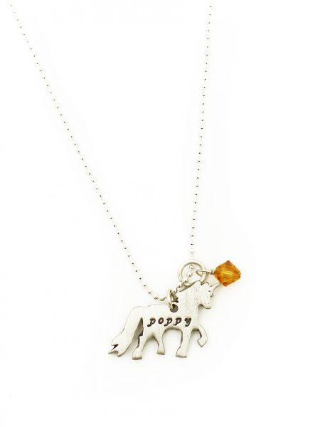 A unicorn charm with the name of your lovely daughter engraved on it. Add her birthstone to this charm.