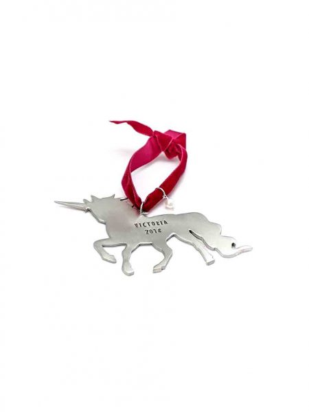 Cast in fine pewter, this Unicorn ornament is the best Christmas for your little ones. Personalize with a name, date, or message hand-stamped.