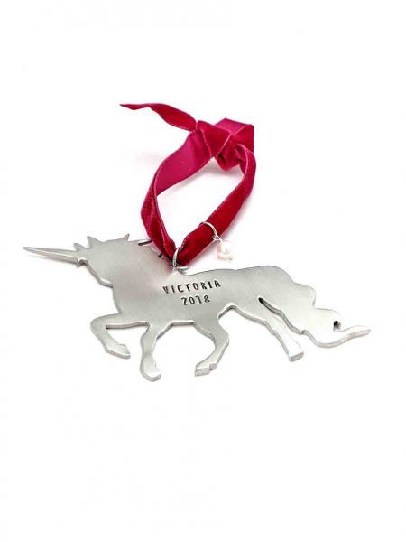 Beautiful and dazzling Unicorn ornament for your little one. Cast in fine pewter, get a name, date, or message hand-stamped.