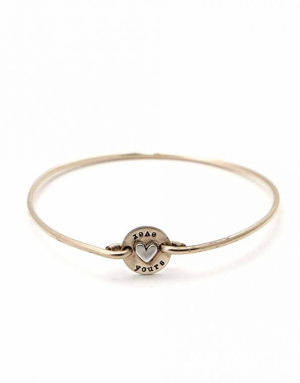 Dainty bangle with a hand stamped disc and a heart in the middle. Personalized bracelet for sister or a friend
