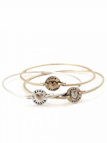 Dainty bangle with a hand stamped disc and a heart in the middle. Personalized bracelet gift for a mom