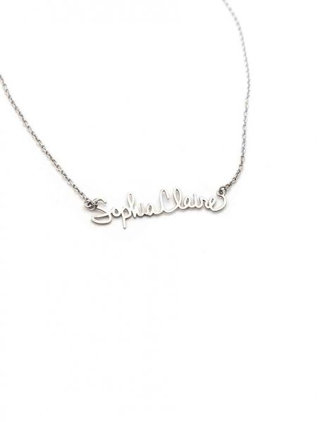 Sterling silver necklace with the name or signature of a loved one in their hand writing. Personalized necklace for mom, grandma, wife