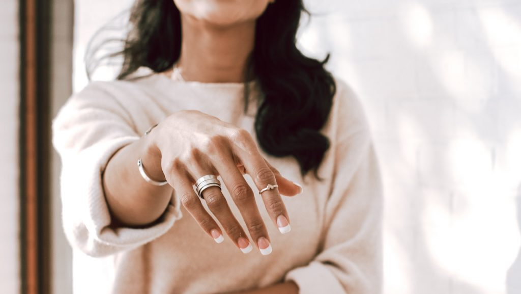 Model wearing Personalized rings